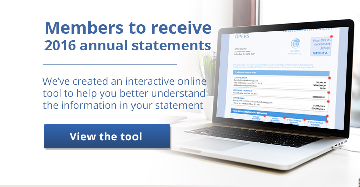 Members will their 2016 Annual Statements soon. Click here to use an interactive tool explaining the different sections of the statement.